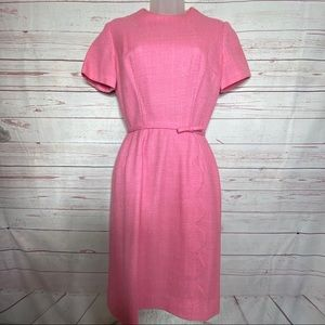 Vintage 1950's Pink Scalloped Wool Blend Dress  9